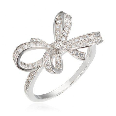 Store Copper Rehinestone Butterfly Bow Ring - 6 PLATINUM Mobile
