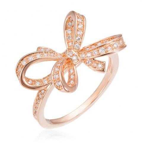 Outfits Copper Rehinestone Butterfly Bow Ring ROSE GOLD 9