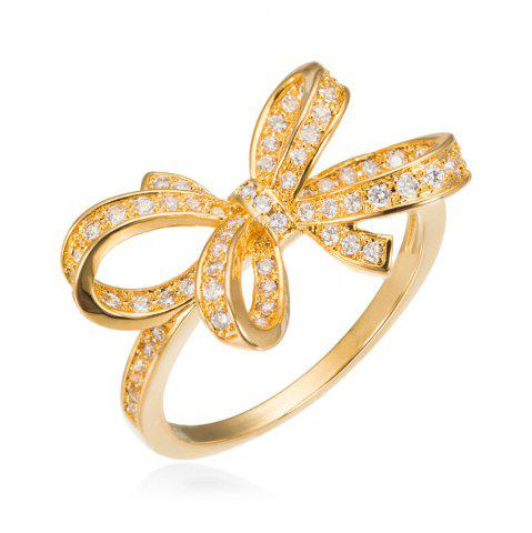Discount Copper Rehinestone Butterfly Bow Ring - 6 GOLD Mobile