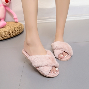 Plush Cotton Slippers Women's Soles Sinter Indoor Slippers - PINK 41