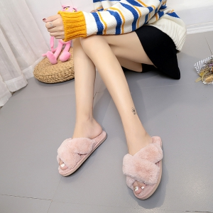 Plush Cotton Slippers Women's Soles Sinter Indoor Slippers - PINK 39