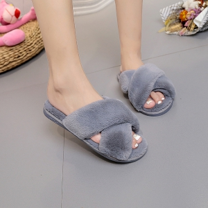 Plush Cotton Slippers Women's Soles Sinter Indoor Slippers - OYSTER 38