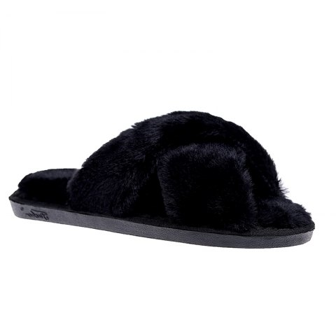 Chic Plush Cotton Slippers Women's Soles Sinter Indoor Slippers - 39 BLACK Mobile
