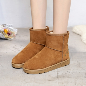 Snow Boots Warm Winter Boots Shoes Female Diamond Flat Nubuck Leather Boots -