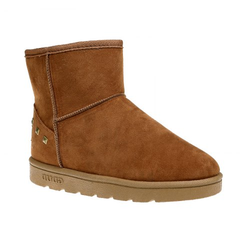 Unique Snow Boots Warm Winter Boots Shoes Female Diamond Flat Nubuck Leather Boots