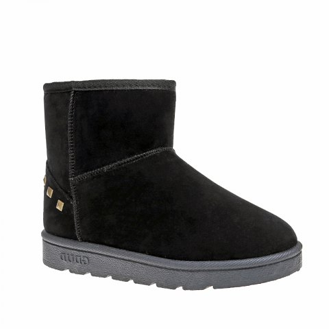 Chic Snow Boots Warm Winter Boots Shoes Female Diamond Flat Nubuck Leather Boots