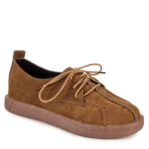 Affordable Fall School Style Frosted Sole Shoes Lace UPS Casual Shoes Flat Bottomed Women's Shoes - 35 BROWN Mobile