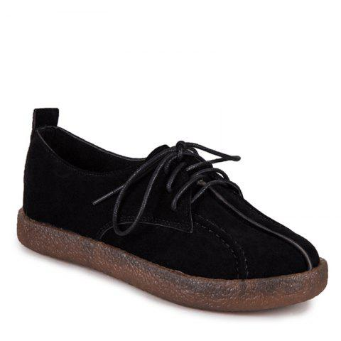 Trendy Fall School Style Frosted Sole Shoes Lace UPS Casual Shoes Flat Bottomed Women's Shoes - 38 BLACK Mobile