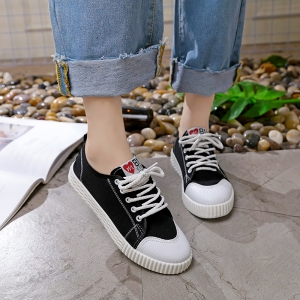Autumn Canvas Shoes Women's Shoes New Flat Bottomed Tie UPS Casual Shoes - BLACK 37