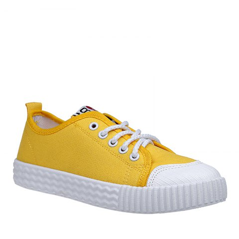 Best Autumn Canvas Shoes Women's Shoes New Flat Bottomed Tie UPS Casual Shoes - 37 YELLOW Mobile