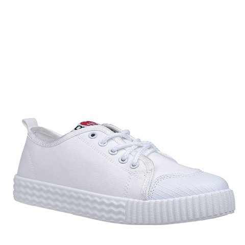 Shop Autumn Canvas Shoes Women's Shoes New Flat Bottomed Tie UPS Casual Shoes WHITE 35