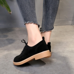 British Style Leather Shoes New Lace UPS Single Shoes Women's Whoes - BLACK 38