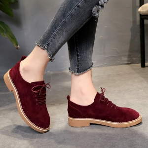 British Style Leather Shoes New Lace UPS Single Shoes Women's Whoes - BURGUNDY 39