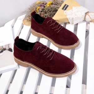 British Style Leather Shoes New Lace UPS Single Shoes Women's Whoes - BURGUNDY 36