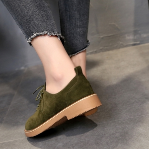 British Style Leather Shoes New Lace UPS Single Shoes Women's Whoes - HAMPTON GREEN 38