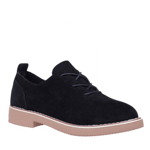 Trendy British Style Leather Shoes New Lace UPS Single Shoes Women's Whoes - 36 BLACK Mobile