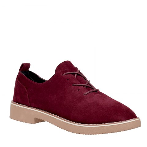 Fancy British Style Leather Shoes New Lace UPS Single Shoes Women's Whoes BURGUNDY 36