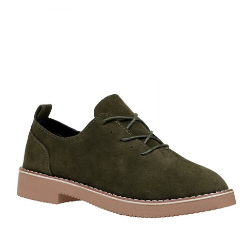 Store British Style Leather Shoes New Lace UPS Single Shoes Women's Whoes - 40 HAMPTON GREEN Mobile