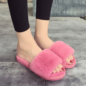 European Style Lady Slippers Warm Plush Autumn And Winter Indoor Home Cotton Slippers - PAPAYA 40