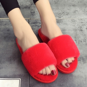 European Style Lady Slippers Warm Plush Autumn And Winter Indoor Home Cotton Slippers - RED 41