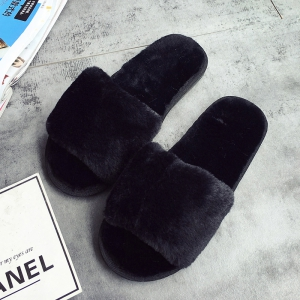 European Style Lady Slippers Warm Plush Autumn And Winter Indoor Home Cotton Slippers - BLACK 41
