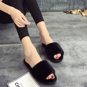 European Style Lady Slippers Warm Plush Autumn And Winter Indoor Home Cotton Slippers - BLACK 37