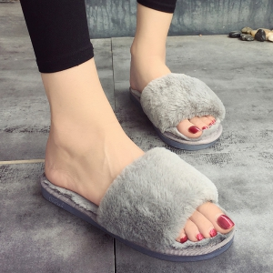 European Style Lady Slippers Warm Plush Autumn And Winter Indoor Home Cotton Slippers - OYSTER 36