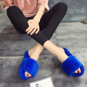European Style Lady Slippers Warm Plush Autumn And Winter Indoor Home Cotton Slippers - CORNFLOWER 37
