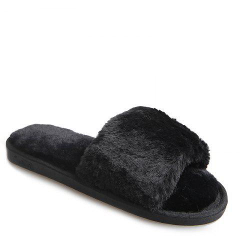 New European Style Lady Slippers Warm Plush Autumn And Winter Indoor Home Cotton Slippers - 37 BLACK Mobile