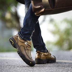 Outdoor Shoes Men'S Leisure Shoes Leather Shoes Wide Head Men'S Shoes - KHAKI 45