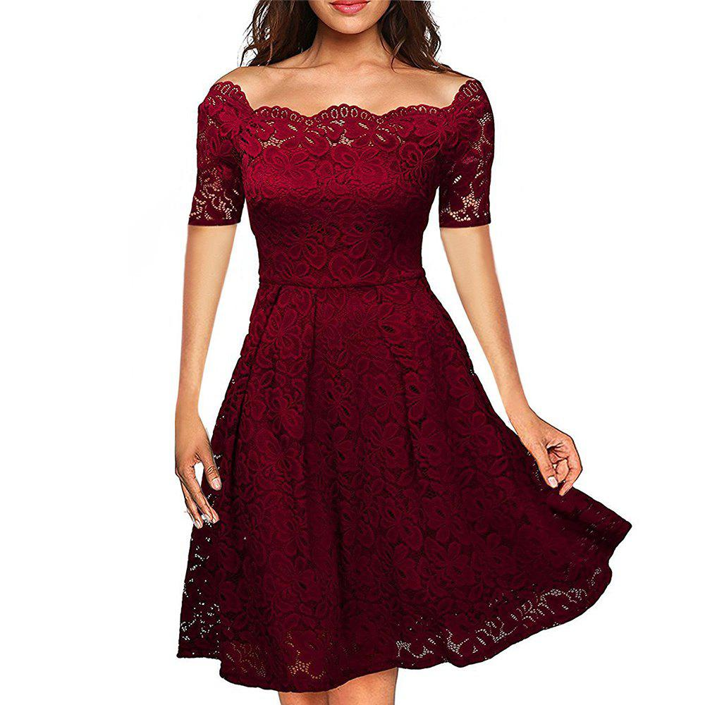2b18eeee0ed94 Best 2017 Summer Embroidery Sexy Women Lace Off Shoulder Dresses Short  Sleeve Evening Party A Line