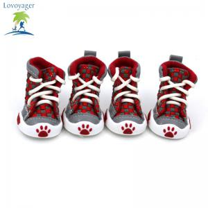 Lovoyager VSE14001 New Classic Casual Canvas Small Dog Shoes Sport Styles Anti-Slip Chihuahua Pet Booties - RED XL/2XL