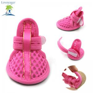 Lovoyager VSB12003 Pet Accessories Soft Rubber Sole Mesh Spring Summer Small Dog Sandals Puppy Shoes - PINK S