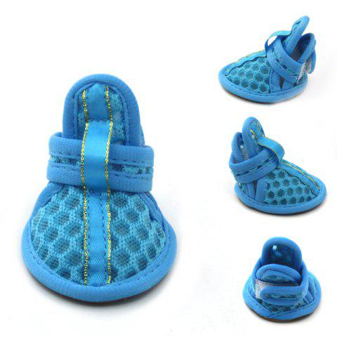 Online Lovoyager VSB12003 Pet Accessories Soft Rubber Sole Mesh Spring Summer Small Dog Sandals Puppy Shoes - L BLUE Mobile