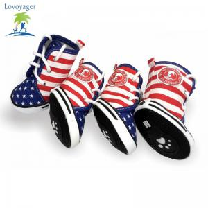 Lovoyager VSE15003 Fashion Canvas American Flag Dog Shoes Sport Casual Anti-Slip Puppy Teddy Sneaker Pet Boots - BLUE S