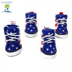 Lovoyager VSE15003 Fashion Canvas American Flag Dog Shoes Sport Casual Anti-Slip Puppy Teddy Sneaker Pet Boots - BLUE M