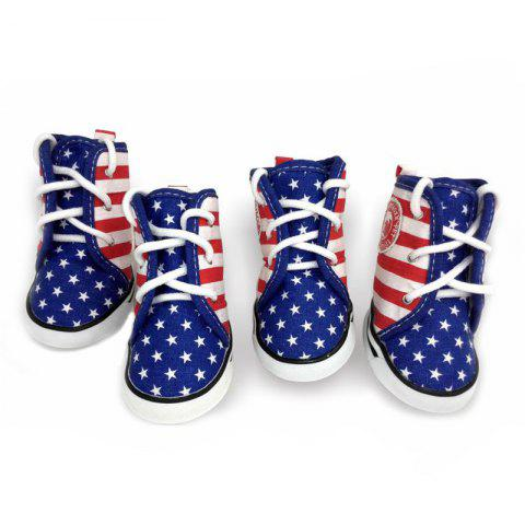 Chic Lovoyager VSE15003 Fashion Canvas American Flag Dog Shoes Sport Casual Anti-Slip Puppy Teddy Sneaker Pet Boots BLUE XL/2XL