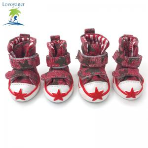 Lovoyager VSE15002 Casual Pet Shoes Star Print Anti-Slip Sneakers Breathable Boots For Puppy Dogs - RED L