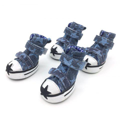 Store Lovoyager VSE15002 Casual Pet Shoes Star Print Anti-Slip Sneakers Breathable Boots For Puppy Dogs - L BLUE Mobile