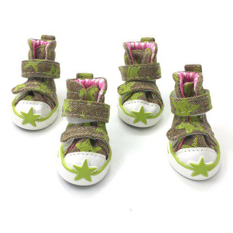 Outfits Lovoyager VSE15002 Casual Pet Shoes Star Print Anti-Slip Sneakers Breathable Boots For Puppy Dogs GREEN M