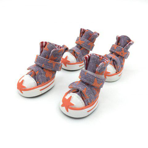 Outfits Lovoyager VSE15002 Casual Pet Shoes Star Print Anti-Slip Sneakers Breathable Boots For Puppy Dogs - M ORANGE Mobile
