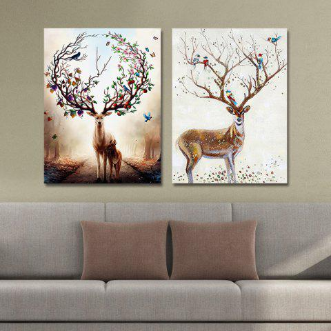 Sale DYC 10141 2PCS Deer Print Art Ready to Hang Paintings - COLORMIX  Mobile
