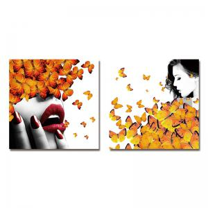 DYC 10157 2PCS Woman and Butterflies Print Art Ready to Hang Paintings -