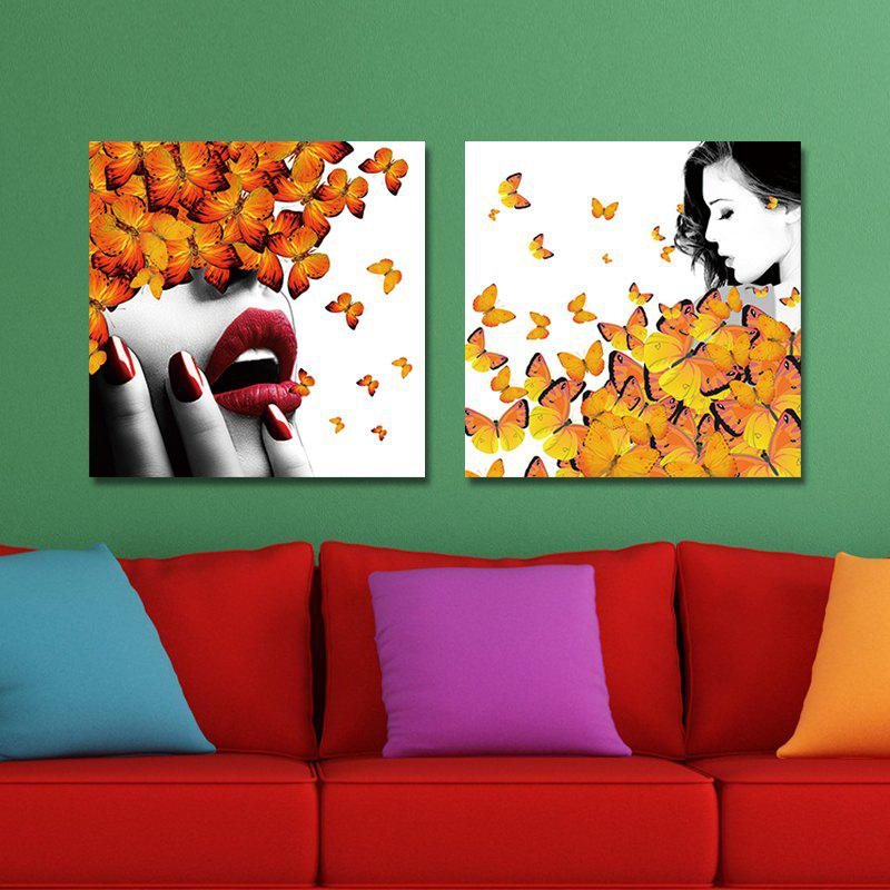 Discount DYC 10157 2PCS Woman and Butterflies Print Art Ready to Hang Paintings