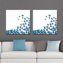 DYC 10159 2PCS Blue Butterflies Print Art Ready to Hang Paintings - COLORMIX