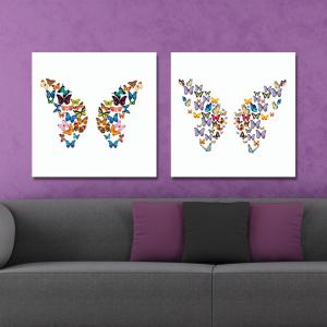 DYC 10162 2PCS Butterflies Print Art Ready to Hang Paintings -