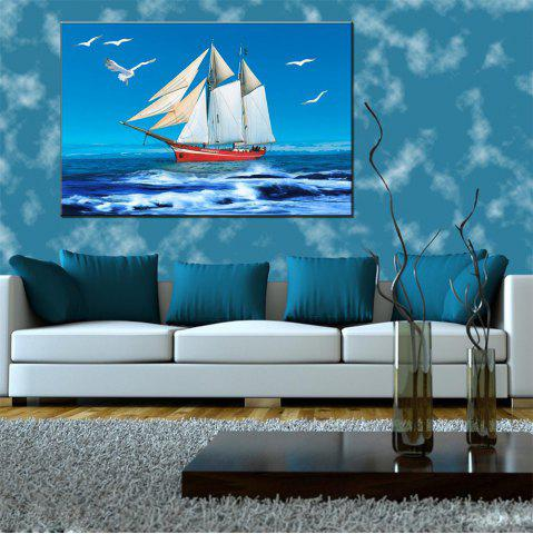 Trendy Hua Tuo Sailing Oil Painting 60 x 90CM OSR - 160317 WHITE + BLUE 24 X 36 INCH (60CM X 90CM)