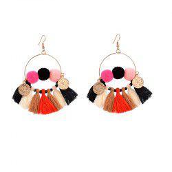 Bohemia Wind Cotton Tassel Earrings Copper Coin Ring Fan Pendant Earrings -