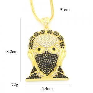 Europe and America Hip Hop Necklace Masked Man Head Pendant Necklace -