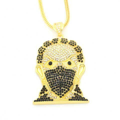 Outfits Europe and America Hip Hop Necklace Masked Man Head Pendant Necklace - GOLDEN  Mobile